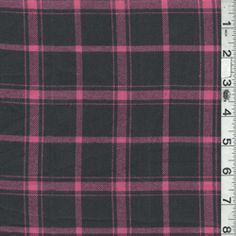 Black/Bright Pink Plaid Flannel - Fabric By The Yard