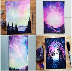 Purple and blue paintings with trees, sky and galaxy.