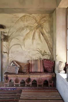 Italy - Veneto. Detail of the Moroccan conservatory and paintings on the wall by Paola Angoletta of a house in Asolo