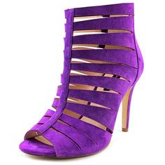 Inc International Concepts Inc International Concepts Romeyo Open Toe... ($41) ❤ liked on Polyvore featuring shoes, sandals, purple, open toe shoes, high heeled footwear, purple suede sandals, suede leather shoes and open toe high heel shoes
