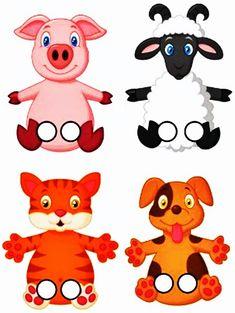 Paper Crafts For Kids, Preschool Crafts, Fun Worksheets For Kids, Finger Puppet Patterns, Animal Cutouts, Autism Teaching, Indoor Games For Kids, Felt Finger Puppets, Shrink Art