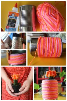 Earth Day: yarn wrapped can planters