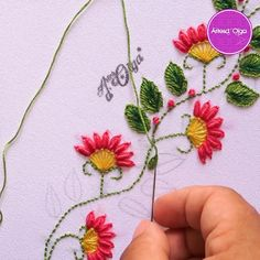 Hand Embroidery Patterns Flowers, Hand Embroidery Videos, Embroidery Stitches Tutorial, Embroidery Flowers Pattern, Hand Embroidery Designs, Embroidery Techniques, Embroidery Transfers, Embroidery On Clothes, Hand Work Embroidery