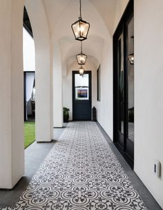 Granada Tile's classic Cluny tiles draw the eye down this long Moorish-inspired patio walkway. Informations About Trending Now: Dreamy Patios With Bold Patterned Tile Pin You can easily use my pro Porch Tile, Patio Tiles, Patio Flooring, Kitchen Flooring, Concrete Tiles, Flooring Ideas, Outdoor Tiles Patio, Garden Tiles, Painted Concrete Floors