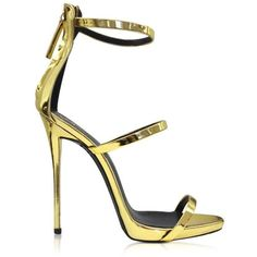 Giuseppe Zanotti Gold Metallic Leather Sandal ($845) ❤ liked on Polyvore featuring shoes, sandals, heels, giuseppe zanotti, sapatos, gold, evening shoes, ankle wrap sandals, giuseppe zanotti sandals and leather ankle strap sandals