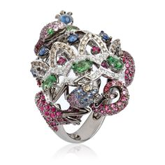 Fantasie Jubilee 18ct white gold diamond sapphire ruby and garnet Serpent ring by Wendy Yue for Annoushka