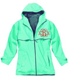 Monogrammed RainJacket - Chest Monogram only. $54.00, via Etsy. ~~~ Except light blue with navy/white writing