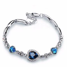 Crystal Rhinestone Titanic Heart Inspired Bracelet