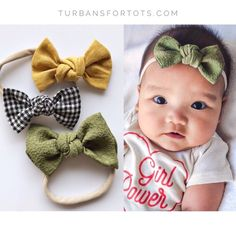 Check Yourself: Knot Bows Set {set of baby headband set, nylon headbands, small bows, baby bows, Baby Sun Hat, Baby Turban, Diy Hair Accessories, Newborn Headbands, Baby Bows, Baby Dress, Pregnancy, Check, Butterfly Hair