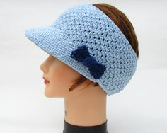 Angel Blue Headband With Visor - Knit Visor Headband With Bow - Women's Headwear - Cotton Head Wrap - Bow Sun Visor - Knit Accessories by BettyMarieJones on Etsy