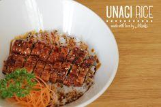 UNAGI è la parola giapponese per le Anguille di Acqua Dolce, ingrediente principale del piatto di oggi. Unagi Rice: Anguilla Arrostita in salsa Teriyaki su una ciotola di riso.