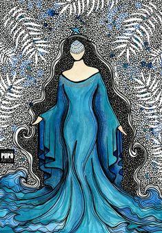 Yemaya Orisha, Orishas Yoruba, Yoruba Religion, Beautiful Dark Art, Acrylic Artwork, Goddess Art, Mermaids And Mermen, Goth Art, Catholic Art