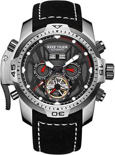 Buy Reef Tiger/RT Sport Watch Complicated Dial with Year Month Perpetual Calendar Big Steel Case Watches Casual Watches, Cool Watches, Luxury Watches, Rolex Watches, Mens Watch Brands, Hiking Fashion, Mens Sport Watches, Vintage Watches For Men, Tiger