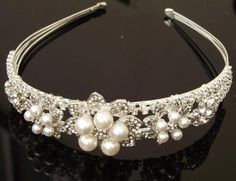 A really pretty headband adorned with an array of Ivory Swarovski pearls and clear crystals in a tiara style. Wedding Headband, Soft Fabrics, Headbands, Pearl Necklace, Hair Accessories, Pearls, Crystals, Elegant, Detail