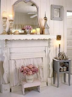 Shabby Chic Love~~~The white mantel and pink flowers are just gorgeous here~~~
