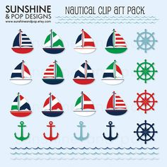 INSTANT DOWNLOAD - Nautical Sail Boat Clip Art -  Sailing Boats Yachts Boating Out at Sea for scrapbooking, invitations - digital download on Etsy, $4.99