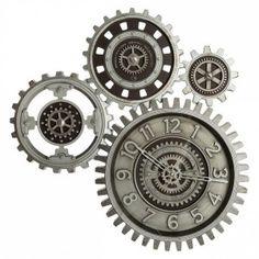 Klok Vintage Bruin - Wanddecoratie - Eminza Color Plata, Industrial, Pvc, Rolex Watches, Pocket Watch, Steampunk, Vintage, Accessories, Gears