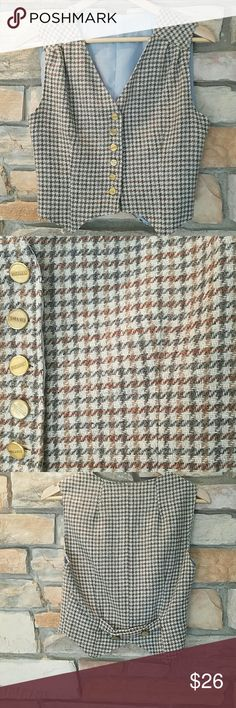 """Wool gingham vest handmade So classic, yet unique! Bought at a small vintage shop in NY, didn't try on and it's a bit too tight?? fully lined, great quality too!18""""chest 18""""length. Perfect condition Vintage Tops"""
