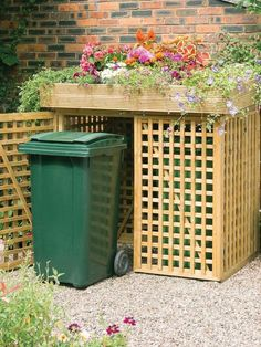 Utility boxes, lawn equipment and trash bins are necessities, but they don't des. - Utility boxes, lawn equipment and trash bins are necessities, but they don't deserve to share the - Lawn Equipment, Trash Bins, Hide Trash Cans, Outdoor Living, Outdoor Decor, Outdoor Fabric, Shed Plans, Diy Woodworking, Woodworking Equipment