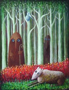 Blue-eyed by FrodoK on DeviantArt Dynamic Painting, Photo Mural, Psychedelic Art, Whimsical Art, Surreal Art, Blue Eyes, Surrealism, Sheep, Modern Art