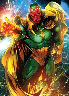 The Vision is a fictional superhero appearing in American comic books published by Marvel Comics. He is an android and a member of the Avengers who first appeared in The Avengers He is loosely based on the Timely Comics character of the same name Marvel Comic Character, Comic Book Characters, Comic Book Heroes, Comic Books Art, Comic Art, Character Art, Book Art, Arte Dc Comics, Marvel Comics Art