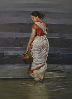 Grey oil Painting by Kamal Rao on Canvas, Figurative based on theme . Indian Women Painting, Indian Art Paintings, Ravivarma Paintings, Acrylic Paintings, Gal Gardot, Watercolor Portrait Painting, Art Painting Gallery, Exotic Art, India Art