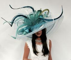 Gorgeous teal Kentucky Derby Hats by #Vinzetta