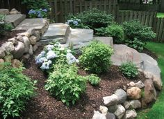 home landscape slope backyard with rocks : Sloped Backyard Home Landscape. home landscaping ideas,home landscaping pictures,sloped backyard landscape,sloped backyard landscape ideas,sloped backyard landscaping designs Sloped Backyard Landscaping, Landscaping On A Hill, Landscaping With Rocks, Landscaping Tips, Backyard Ideas, Sloping Backyard, Garden Ideas, Sloping Garden, Inexpensive Landscaping