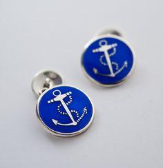 Accesorios De Paño De Cristal Cuadrado Azul Excelente Regalo Brazalete linksmen/'s Jewelry