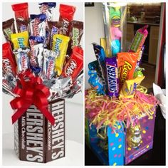 Candy Baskets Theme Baskets, Raffle Baskets, Candy Baskets, Homemade Gift Baskets, Homemade Gifts, Gift Websites, Goodie Basket, Chocolate Pack, Candy House