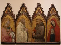 Ambrogio Lorenzetti, Four polyptych compartments: St. Catherine of Alexandria, St. Benedict, St. Francis, St. Mary Magdalene