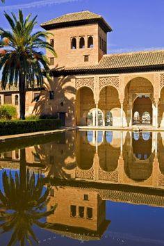 Photo of the Palacio del Partal at La Alhambra,<br />City of Granada, Andalusia, Spain.