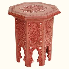 Syrian Side Table Hand Carved Terracotta - Sheherazade