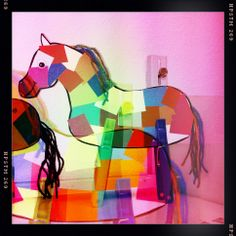 Peg horse with wool mane and tail. Cut up coloured paper in body space.  #gq #horse #craft #cyalibrarian