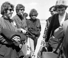 Bob Dylan with is band in france airport Le Bourget  1966