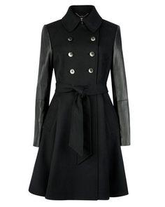 MUTISIA | Contrast sleeve trench coat - Black | Jackets & Coats | Ted Baker