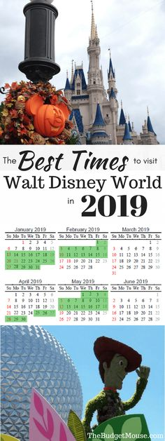 The best time to go to Disney World in 2018 & 2019! My most recommended times of year and a free printable calendar to plan your Disney World trip.