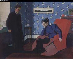 Felix Vallotton Interior with red armchair and figure