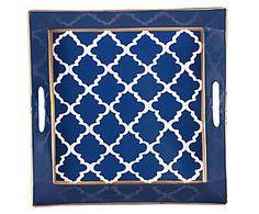 Plateau peint à la main MADELINE acier, bleu et blanc - 30*30