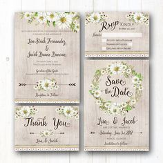 wedding stationery baby showers coleccin de daisy boho rstico este rstico margaritas y boho natural temtico de la boda invitacin