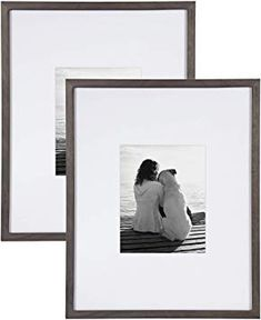 Amazon.com - DesignOvation Gallery Wood Photo Frame Set for Customizable Wall Display, Pack of 2 16x20 matted to 8x10 Gray -