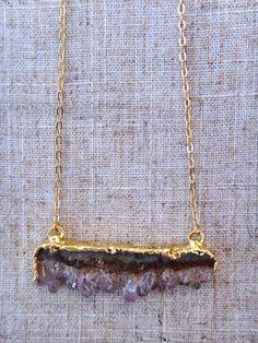 Amethyst Druzy Drusy Bar Necklace Vermeil by ByGennaLou on Etsy