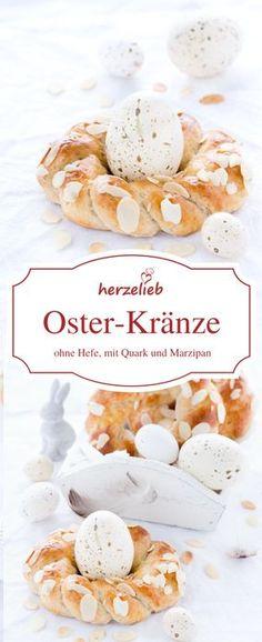 Food - Rezept für kleine Osterkränze ohne Hefe - einfach und schnell zuzubereiten. Zum Backen braucht ihr Marzipan und Quark. Rezept von herzelieb