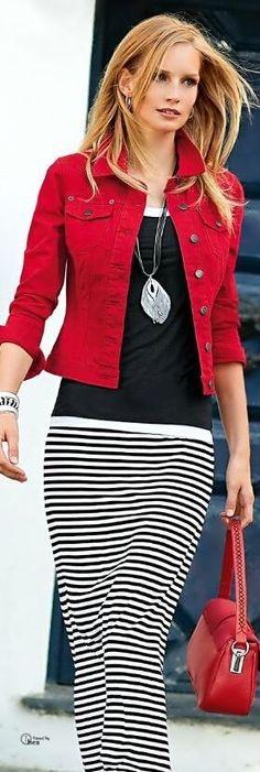 Black striped maxi skirt, black shirt, love the red denim jacket!