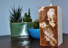 Tealight Centerpiece, Snowy Owl, James Audubon, Bird Lover Gift, Unique Desk Decor, Desktop Decor Gifts, Unique Engraved Gift, Bedside Table