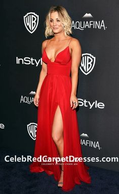 Kaley Cuoco Red Spaghetti Straps Prom Dress Golden Globe Awards Party 2016 Red Carpet
