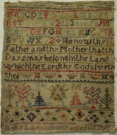 SMALL LATE 18TH CENTURY SAMPLER BY MARY LAMPLOUGH AGED 10 - 1791