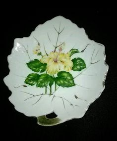 50% off sale going on now just make an off Nasco dish Gold trim Slip Porcelain Leaf yellow roses Handpainted Beautiful  | Pottery & Glass, Pottery & China, Art Pottery | eBay!