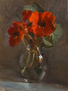 Nasturtiums A Daily painting by Julian Merrow-Smith