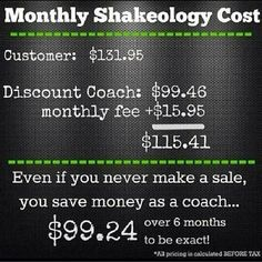 Shakeology cost for a regular customer vs. a Coach #becomeacoach #shakeology #getfit #discount